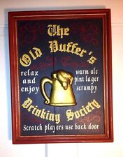 "Pub Bar Sign ""The Old Duffers Drinking Society"" Solid Wood 17""x 13""x 1.5"""