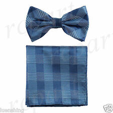 New In Box Men's Plaid Pre-tied Bow Tie And Hankie Set Formal Party Prom Blue