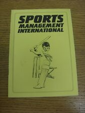 circa 1990's Cricket: Sports Management International, A Booklet Containing Info