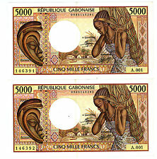 Gabon … P-6a … 5,000 Francs … ND(1984) … *XF-AU* Sign 9. Block A001-Pair.