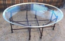 Wood faux bamboo oval brass/glass tray top coffee table