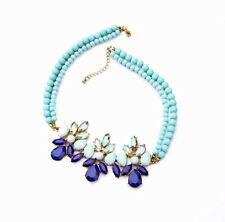 Double Two Layer Blue Pearls Beads necklace Choker Pendant Jewellery Ladies Boho