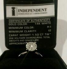 STUNNING 1.5 CARAT NATURAL DIAMOND RING 14K WHITE GOLD SIZE 8