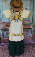 Yellow Green Black Cream Floral Hand Embroided Huipil Oaxaca Mexico Hippie Boho
