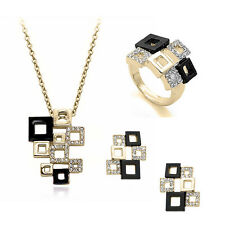 New Design Mosaic Black Gold Crystal Square Pendant Necklace Ring Jewelry Sets