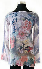 NWT blue purple asian flower beach pool cover-up long sleeve tunic top small