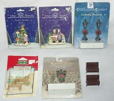 Lot of Miniature Snow Chirstmas Village Street Light Lamp Post Benches People