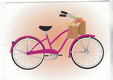 "*Postcard-""The Girls Bicycle"" ...w/Basket & Small Bag- ..CLASSIC--"