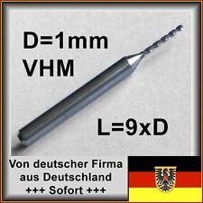 5 unid braguitas. VHM taladro 1,0mm diámetro 9xd, metal duro F. MCA, etc.