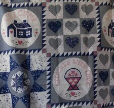 Estate Fabric Vintage Floral House Hearts Cheater Country Folk BTY Quilt