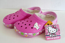 crocs HELLO KITTY Mammoth Clog 12 13 Sanrio Magenta Pink Crocband Fleece Lined