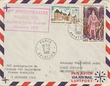 LETTRE PAR AVION LETTER AIR MAIL PREMIER VOL ANGLETERRE FRANCE AUSTRALIE 1969