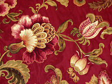 Mill Creek Jacobean Floral RUBY Pink Green Gold Shades Drapery Sewing Fabric