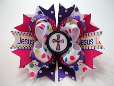 """Jesus Loves Me"" Cross/Religious Handmade Boutique Stacked Hair Bow 5.0' x 4.5"""