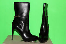 BURBERRY CHAIN DETAIL PLATFORM LEATHER BOOTS BLACK #6us $895