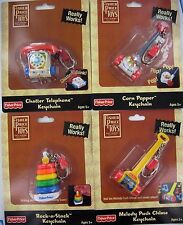 FISHER-PRICE Keychains Keyrings SET OF 4 Popper Phone Rock-a-Stack Chime Retired