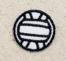 Iron On Applique Embroidered Patch Team Volleyball Sport Ball Black/White LARGE