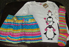 Crazy 8 3PC penguin top, fair isle knit skort skirt & knee socks NWT 5 6