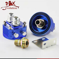Universal 10-AN10 Cooler Sandwich Plate Adapter+Oil Filter Relocation Kit Blue