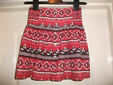 TOPSHOP RED BLACK WHITE AZTEC COTTON PRINT BUTTON FRONT FLOATY A-LINE SKIRT - 6
