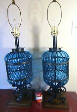 "PR,RARE,HUGE 36"",Vtg.Blue Glass Wrought Iron Spanish Table Lamps,Gothic,Medieval"