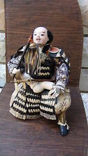 ANTIQUE JAPANESE SAMURAI MUSHA WARRIOR DOLL GOFUN FACE AND HANDS,FROM ART MUSEUM