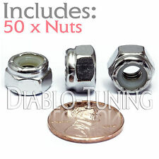 1/4-20 NE - Qty 50 - Nylon Insert Hex Lock Nut UNC - A2 Stainless Steel 18-8