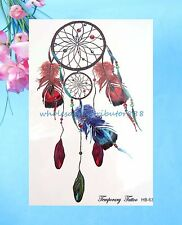 "temporary tatoo feather dreamcatcher 8.25"" large temporary arm tattoo"