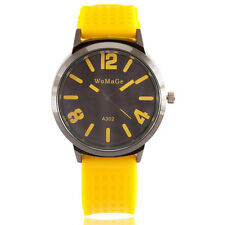 New Simple Young Jelly Sport Wrist Watch Boy Girl Men Quartz Yellow Rubber Band