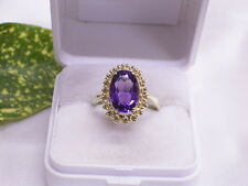 GELBGOLD-RING mit AMETHYST / OVAL: 585er GOLD: 57 / 18,1
