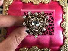Betsey Johnson Heart of Gold Crystal Clear SPARKLY CZ Stretch Ring VERY RARE