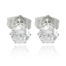 1 Pair Fashion White Zircon 18K White Gold Plated Stud Earrings 15.5mm x6mm