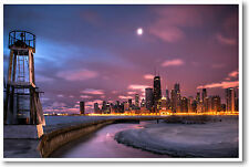 Chicago Winter Skyline Sunrise - Illinois Lake US City Travel America - POSTER