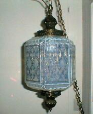 1960'S HOLLYWOOD REGENCY HANGING LIGHT OPALESCENT GLASS