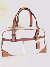 COACH HAMPTONS  SATCHEL BAG  TWO TONE BROWN WHITE LEATHER RETAIL $278 F11198