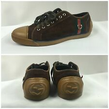 Auth 100% GUCCI Monogram Mens Sneakers 182261 GG Shoes Brown Sz 44 US 11