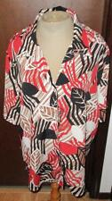 "Alia Plus Size 18 Rust Color Floral Light Poly Blouse, Top, 48"" Bust 28"" Long"