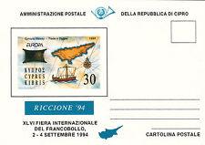 CARTOLINA  POSTALE FIERA INTERNAZIONALE EUROPA RICCIONE 1994 CIPRO CYPRUS KIBRIS