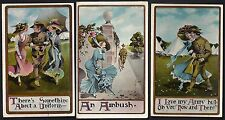 US 1900 FOUR MILITARY ARMY NAVY PHOTO HAND COLORED COMIC POST CARDS OF THE GIRLS