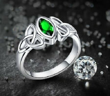 WHITE GOLD PLATED CELTIC DESIGN CZ GREEN EMERALD CRYSTAL RING. SIZE: L1/2