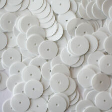 10mm Flat SEQUIN PAILLETTES ~ Opaque WHITE Shiny ~ Round Disc ~ Made in USA.