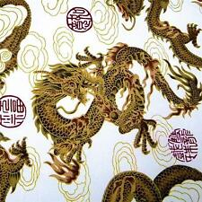 Japanese Daiwabo Cotton Fabric Per Yard, Metallic Gold Dragons on White