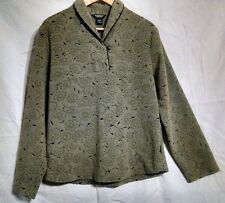 STUNNING Green Leaf Womens Medium Woolrich Shawl Collar Sculpted Fleece Pullover