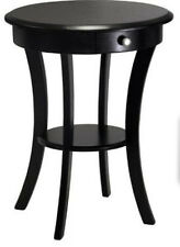 Small End Table Storage Drawer Black Furniture Nightstand Accent Side Round