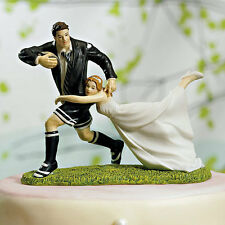 """""""A Love Match"""" RUGBY Couple Wedding Cake Topper Cute Funny Football Bride Groom"""