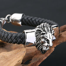 Fashion Mens Jewelry Cool Stainless Steel Lion Head With Black Leather Bracelet