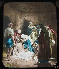 Glass Magic Lantern Slide JESUS BEING LAYED IN TOMB C1910 CHRISTIAN RELIGION