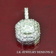 1.57 Ct MOISSANITE CUSHION FOREVER BRILLIANT HALO MICRO PAVE PENDANT