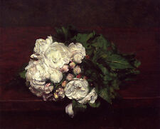 Wonderful Oil painting Latour - Flowers White Roses nice still life on canvas
