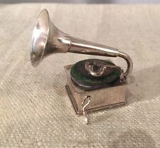 Antique Dutch H. Hartman Sterling Silver Figural Gramophone Miniature